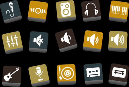 Vector icons pack - Yellow-Brown-Blue Series, music collection Stock Vector - 5057686