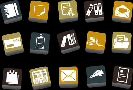 Vector icons pack - Yellow-Brown-Blue Series, paper collection Vector