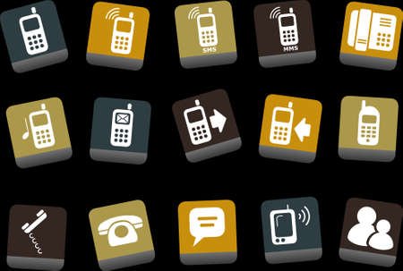 Vector icons pack - Yellow-Brown-Blue Series, phones collection Vector
