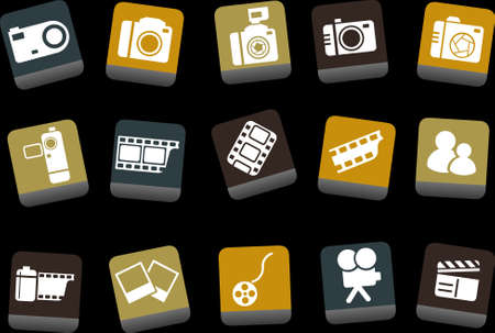 Vector icons pack - Yellow-Brown-Blue Series, photo collection Vector