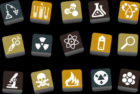 caution chemistry: Vector icons pack - Yellow-Brown-Blue Series, research collection