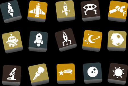 zero gravity: Vector icons pack - Yellow-Brown-Blue Series, space collection