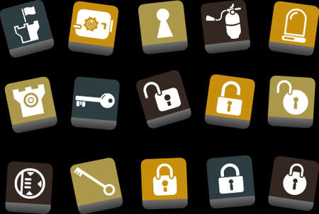 backsight: Vector icons pack - Yellow-Brown-Blue Series, security collection Illustration