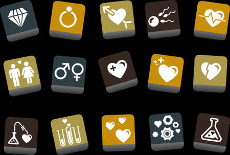 Vector icons pack - Yellow-Brown-Blue Series, s.valentine collection Vector