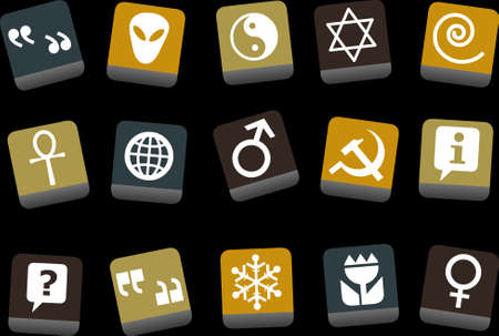 Vector icons pack - Yellow-Brown-Blue Series, symbols collection Vector