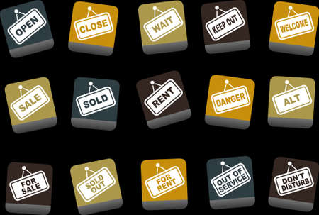 interdict: Vector icons pack - Yellow-Brown-Blue Series, signals collection