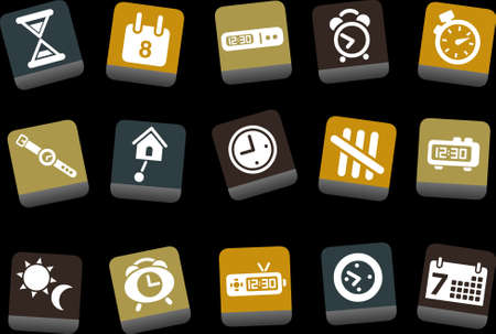 Vector icons pack - Yellow-Brown-Blue Series, time collection Vector