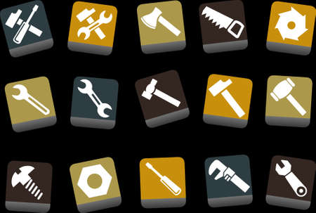 tornillos: Vector iconos pack - Amarillo-Marr�n Azul-Series, la herramienta de recogida Vectores