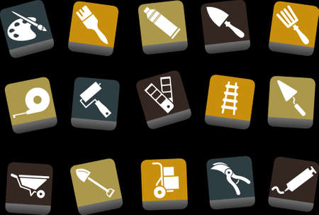 wheel barrow: Vector icons pack - Yellow-Brown-Blue Series, tool collection