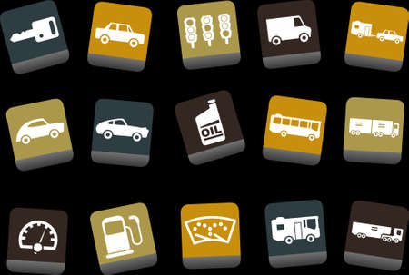 tow car: Vector icons pack - Yellow-Brown-Blue Series, transport collection