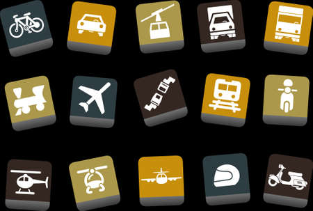 boeing: Vector icons pack - Yellow-Brown-Blue Series, transport collection