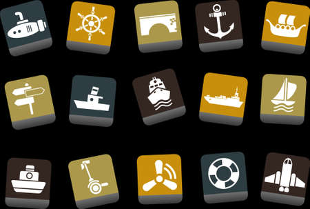 ferry boat: Vector icons pack - Yellow-Brown-Blue Series, transport collection