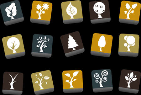 willow tree: Vector icons pack - Yellow-Brown-Blue Series, tree collection