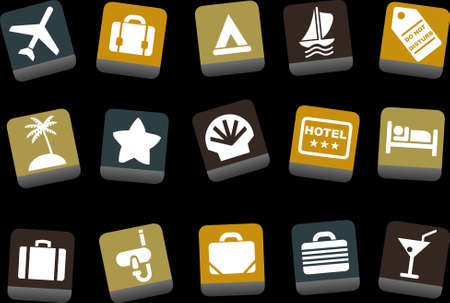 hotel rooms: Vector icons pack - Yellow-Brown-Blue Series, vacation collection
