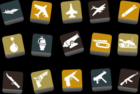 Vector icons pack - Yellow-Brown-Blue Series, weapons collection Stock Vector - 5057672