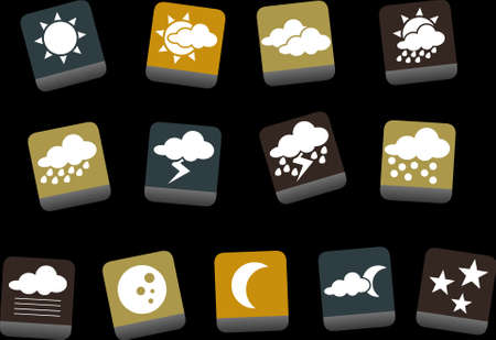 Vector icons pack - Yellow-Brown-Blue Series, weather collection Stock Vector - 5057657
