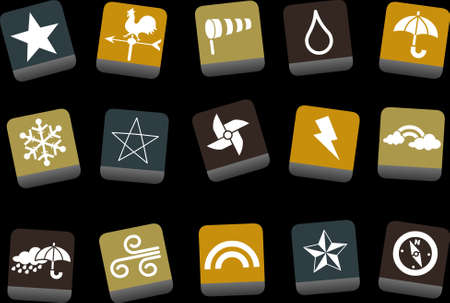 Vector icons pack - Yellow-Brown-Blue Series, weather collection Vector