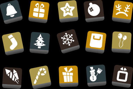 Vector icons pack - Yellow-Brown-Blue Series, Christmas collection Vector