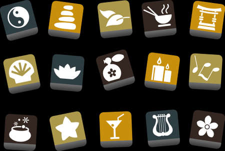 ayurveda: Vector icons pack - Yellow-Brown-Blue Series, zen collection Illustration