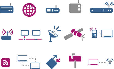 hub computer: Vector icons pack - Blue-Fuchsia Series, communication collection
