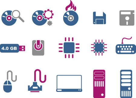 Vector icons pack - Blue-Fuchsia Series, computer collection