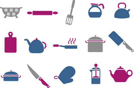 trencher: Vector icons pack - Blue-Fuchsia Series, cooking tools collection