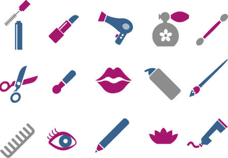 Vector icons pack - Blue-Fuchsia Series, make-up collection