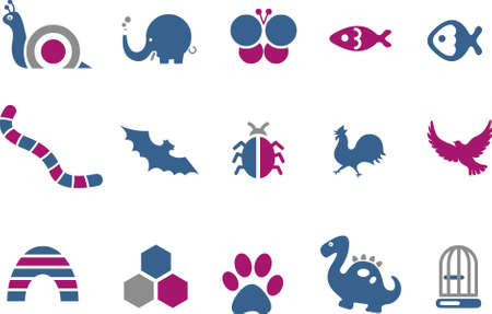computer bug: Vector icons pack - Blue-Fuchsia Series, animals collection Illustration