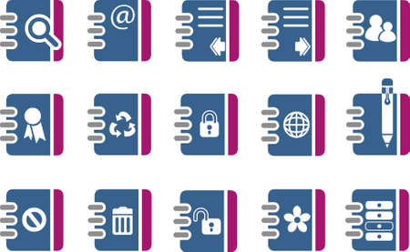 Vector icons pack - Blue-Fuchsia Series, document collection Stock Vector - 5057627