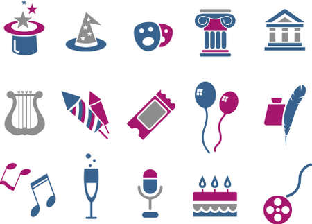 Vector icons pack - Blue-Fuchsia Series, entertainment and art collection