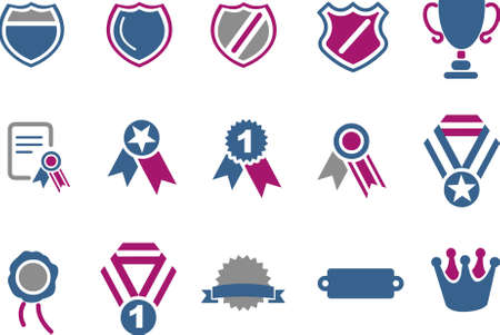 Vector icons pack - Blue-Fuchsia Series, badges collection Vector
