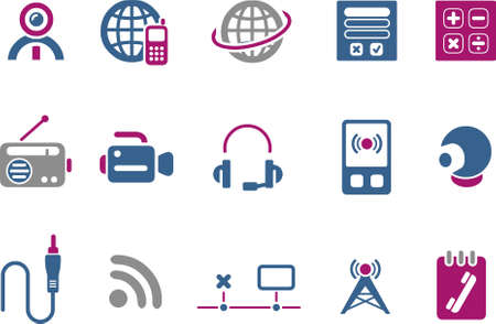 Vector icons pack - Blue-Fuchsia Series, electronic collection Stock Vector - 5057603