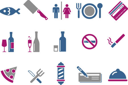 Vector icons pack - Blue-Fuchsia Series, bar and restaurant collection Vector