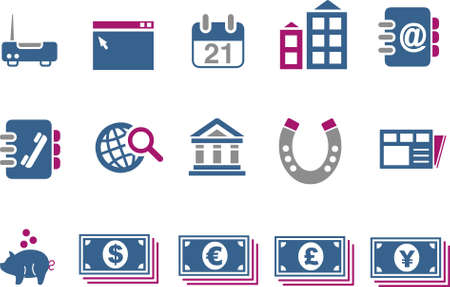pig iron: Vector icons pack - Blue-Fuchsia Series, business collection Illustration