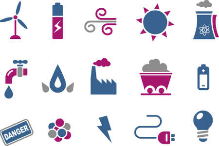 kyoto: Vector icons pack - Blue-Fuchsia Series, energy collection Illustration