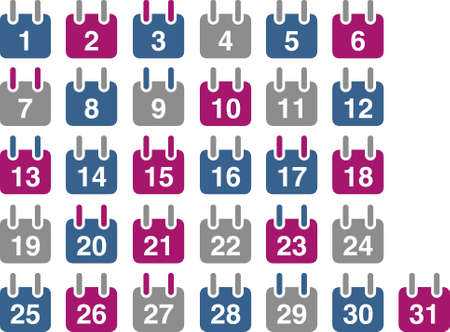 weekdays: Vector icons pack - Blue-Fuchsia Series, calendar collection
