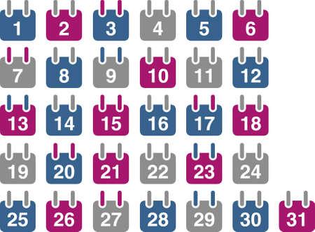 calendar vector: Vector icons pack - Blue-Fuchsia Series, calendar collection