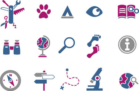 Vector icons pack - Blue-Fuchsia Series, exploration collection