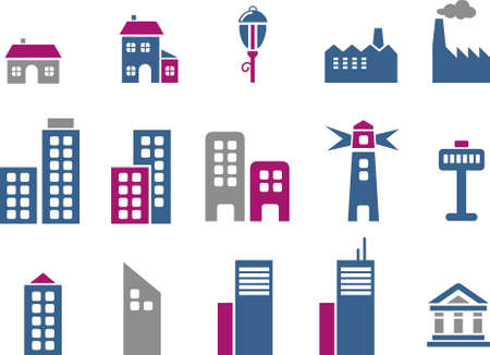 Vector icons pack - Blue-Fuchsia Series, city collection