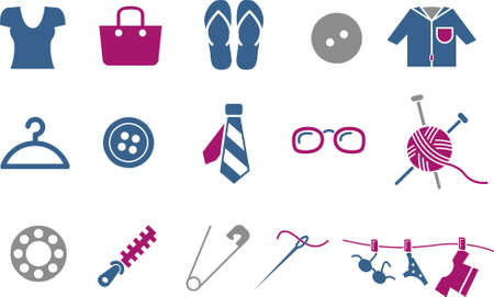 Vector icons pack - Blue-Fuchsia Series, clothing collection Vector