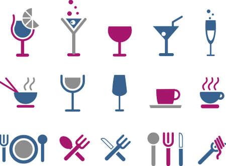 plato pasta: Pack de iconos de vector - serie de Blue-Fuchsia, colecci�n de alimentos