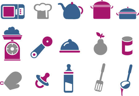Vector icons pack - Blue-Fuchsia Series, food collection Vector