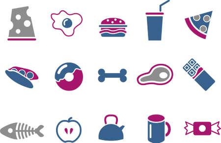 cafe bombon: Pack de iconos de vector - serie de Blue-Fuchsia, colecci�n de alimentos