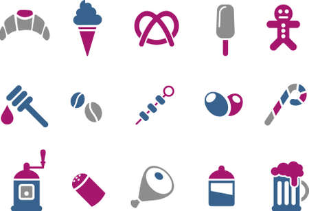 broach: Vector icons pack - Blue-Fuchsia Series, food collection Illustration