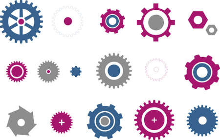 Vector icons pack - Blue-Fuchsia Series, gear collection Stock Vector - 5057577
