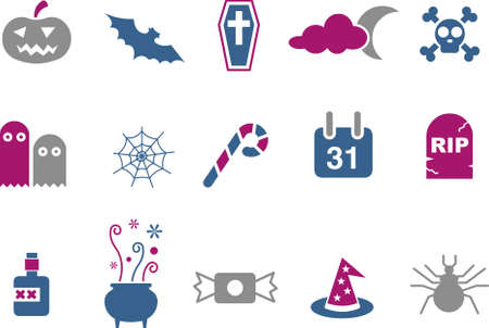 Vector icons pack - Blue-Fuchsia Series, halloween collection Vector