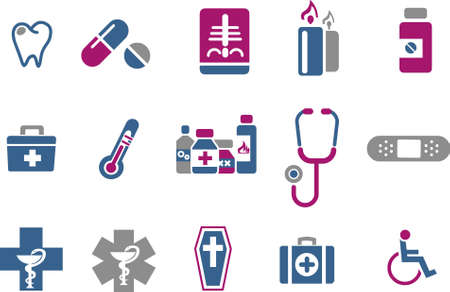 Vector icons pack - Blue-Fuchsia Series, health collection Vector