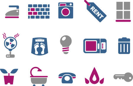 Vector icons pack - Blue-Fuchsia Series, house collection Vector