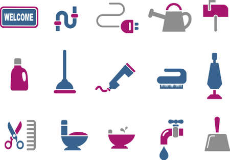 house series: Vector icons pack - Blue-Fuchsia Series, house collection