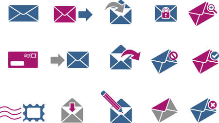 Vector icons pack - Blue-Fuchsia Series, mail collection Stock Vector - 5057509